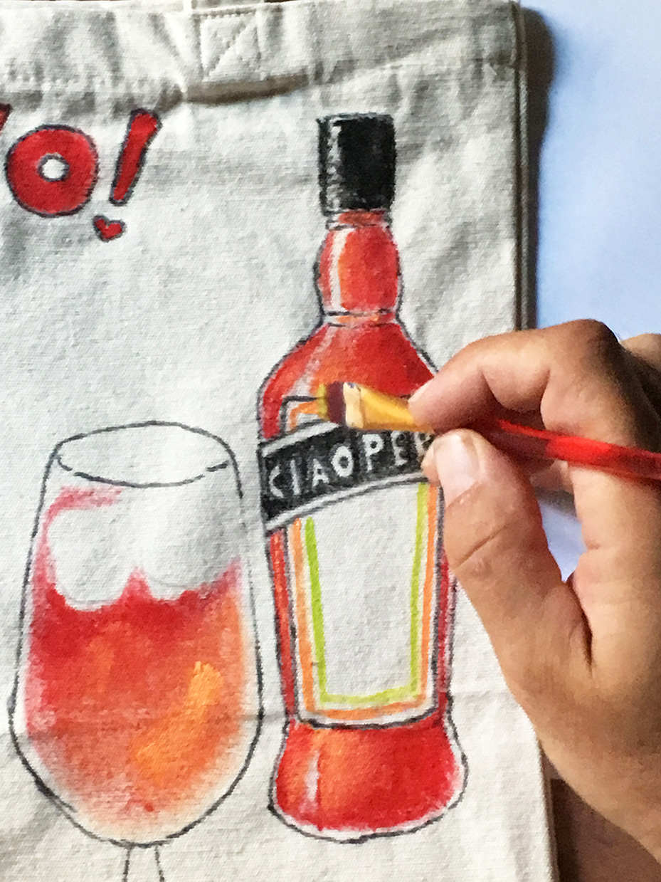 Aperitivo tote bag Ciaoperol hand painted. For all lovers of the Italian classic cocktail or Italy