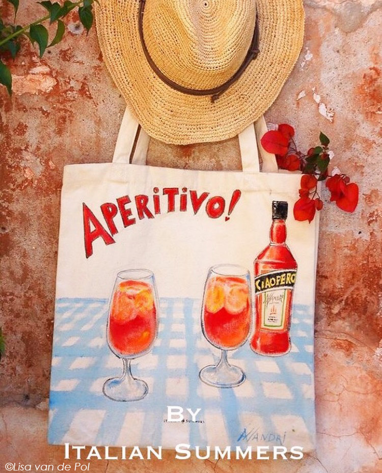 Aperitivo Tote bag handpainted by Italian Summers