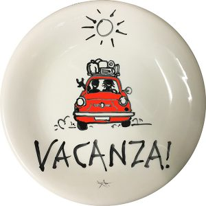 Cinquecento Vacanza, exclusive ceramic plate by Italian Summers