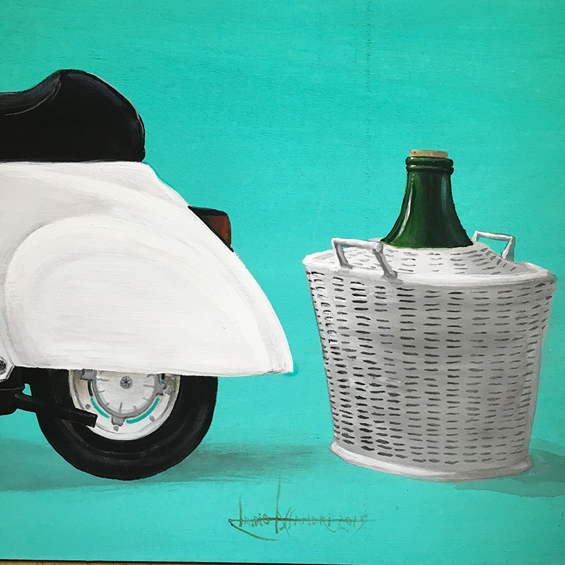 Claudio Assandri painting, Vespa with wine barrel, painting on wood