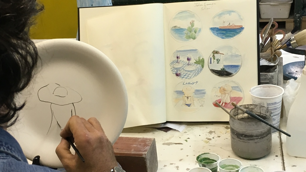 Italian Summers ceramic plates, by Artist Claudio Assandri | it all starts with the designs | the making of Italian Summers ceramic plates