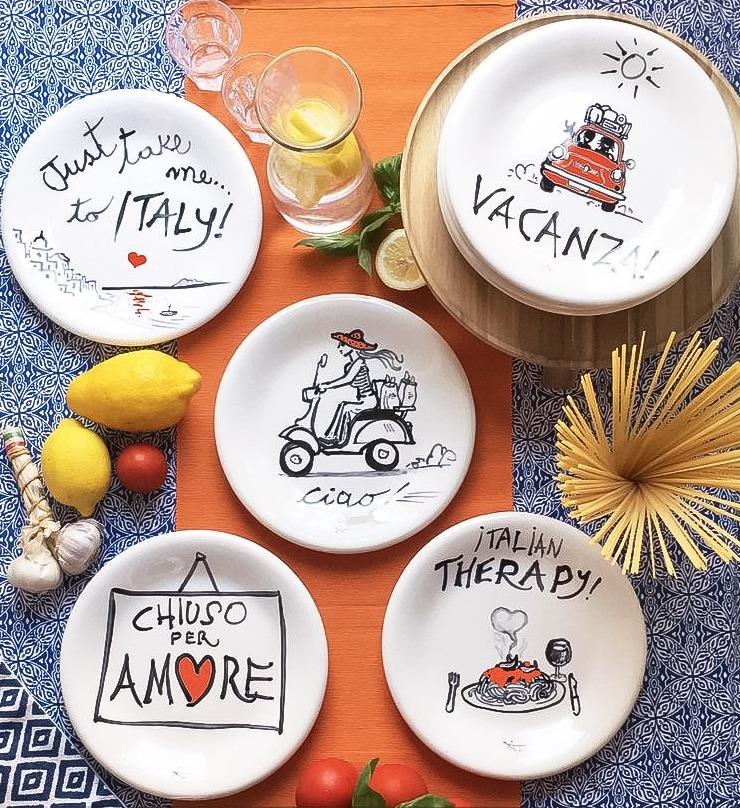 Italian handpainted ceramics, exclusive by Italian Summers, design by claudio Assandri and Lisa van de Pol