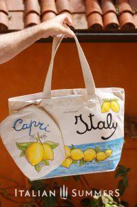 ITALIAN LEMONS shopper/beach bag AND CLUTCH by Italian Summersshopper tote bag by Italian Summers. Handpainted canvas.