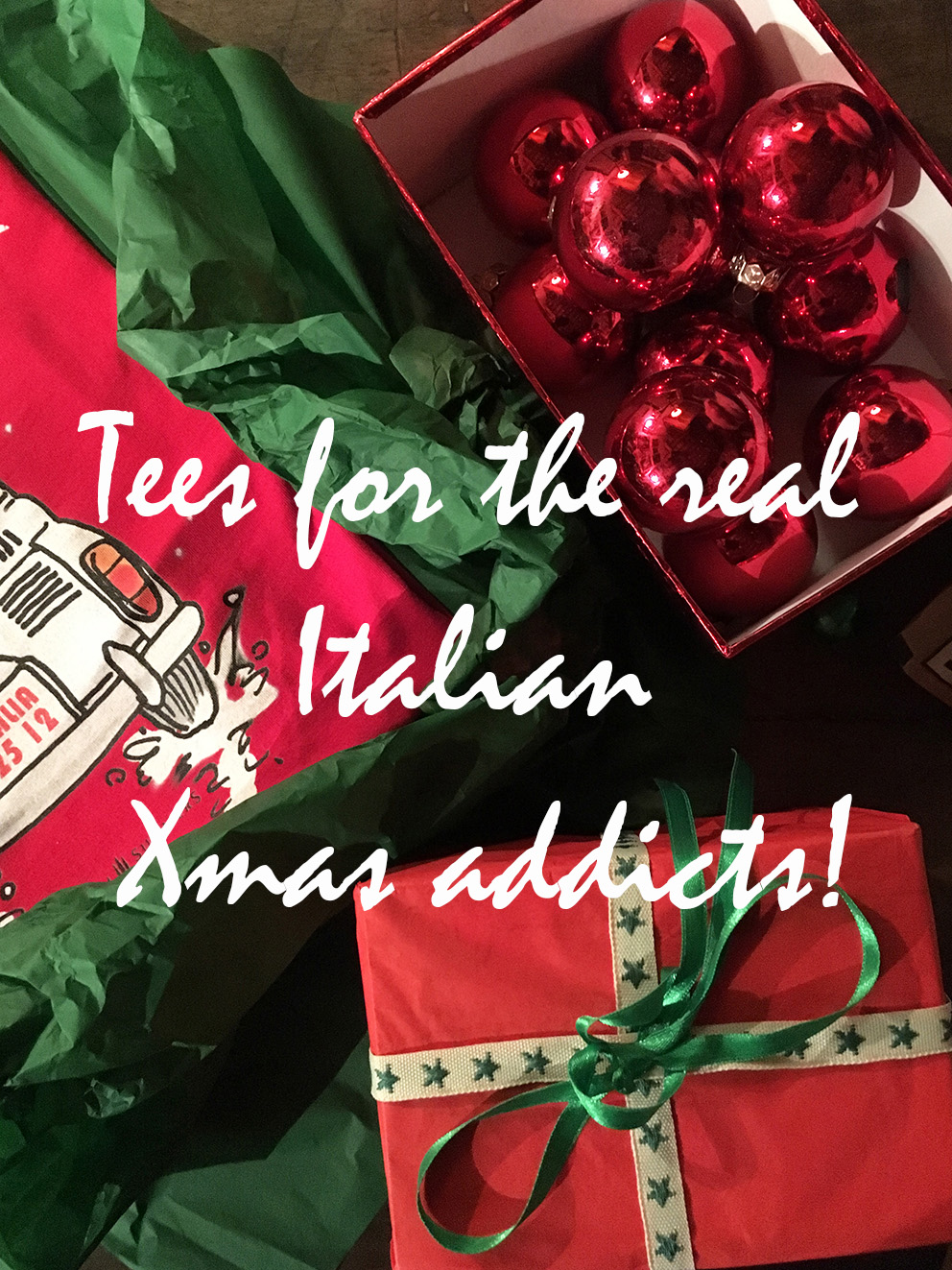 Italian Christmas Gifts by Italian summers. Tees with happy Italian designs or Italian quotes