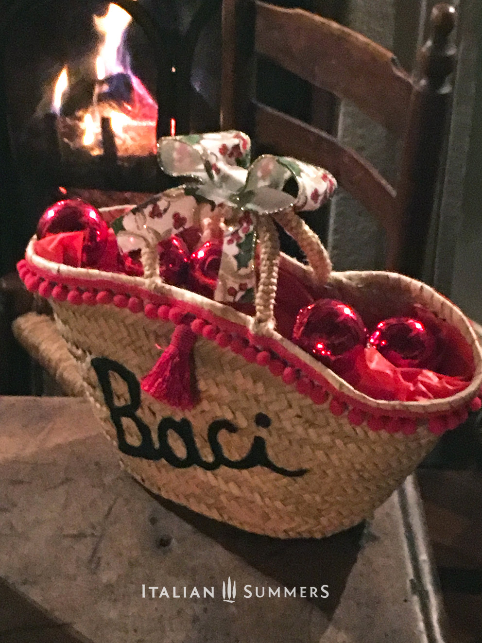 ITALIAN CHRISTMAS GIFTS by Italian Summers. Mini straw bag little Miss Baci Italian style