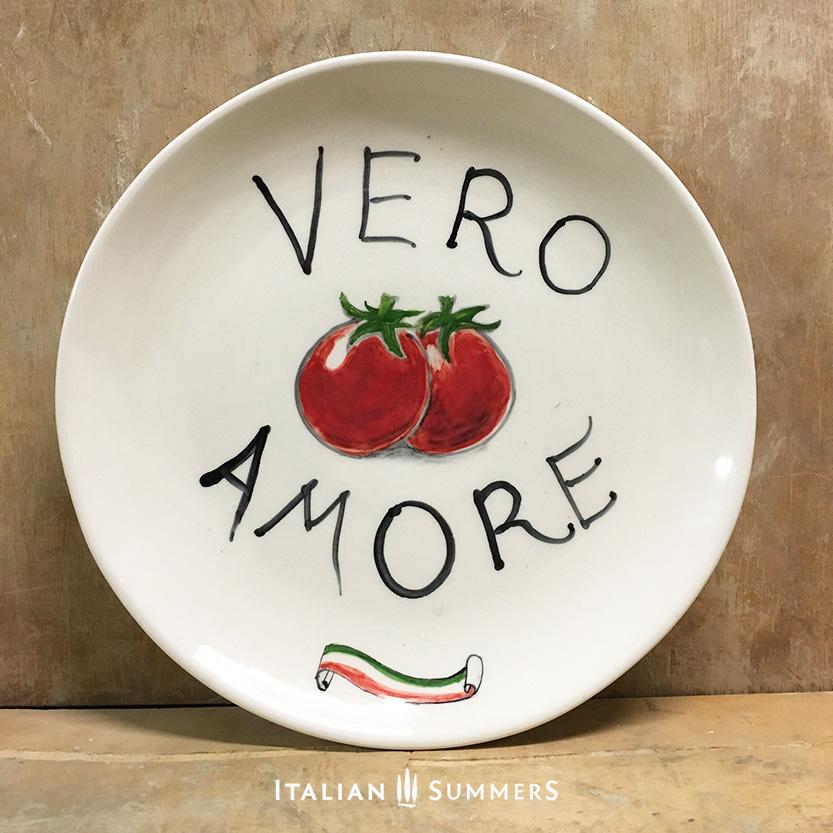 Italian Plate VERO AMORE handpainted ceramic by Italian Summers