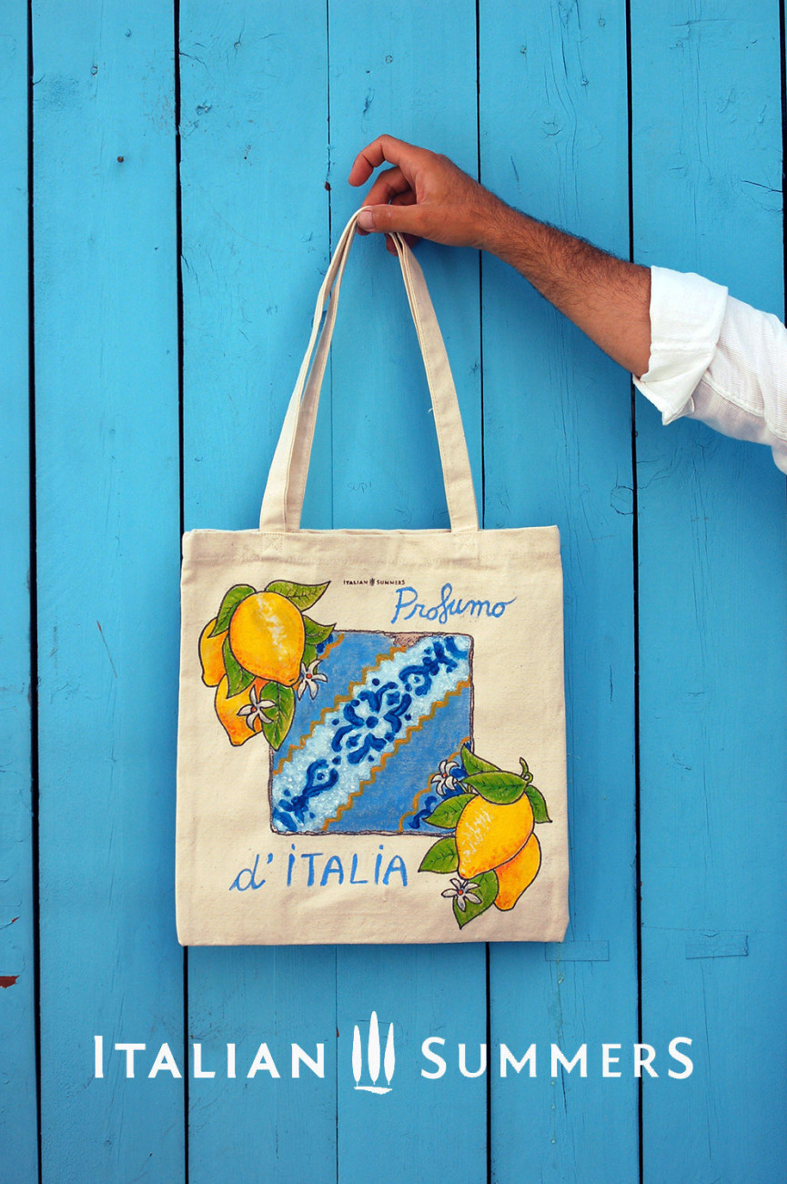 Majolica BAG handpanted organic cotton by Italian Summers