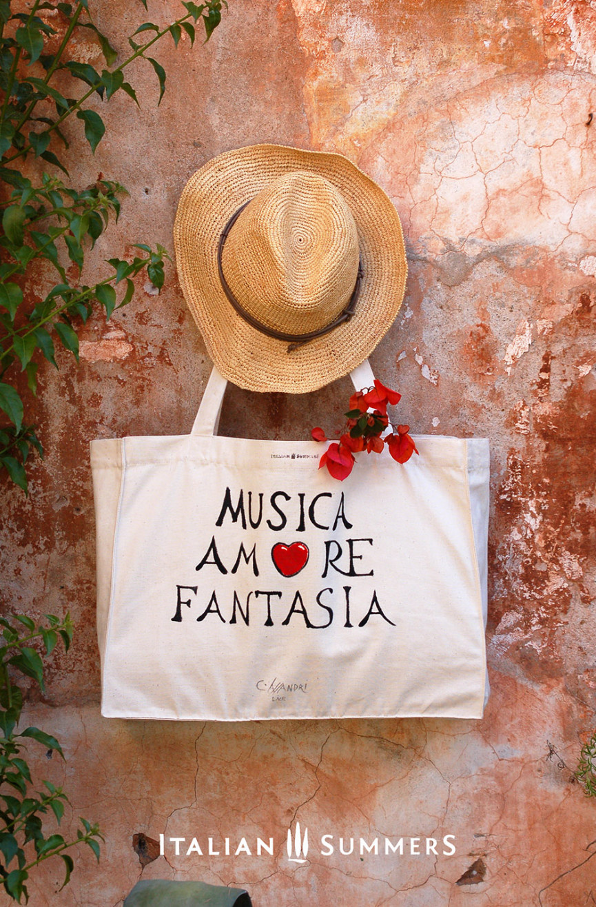 Shopper tote bag MUSIC AMORE FANTASIA by Italian Summers.