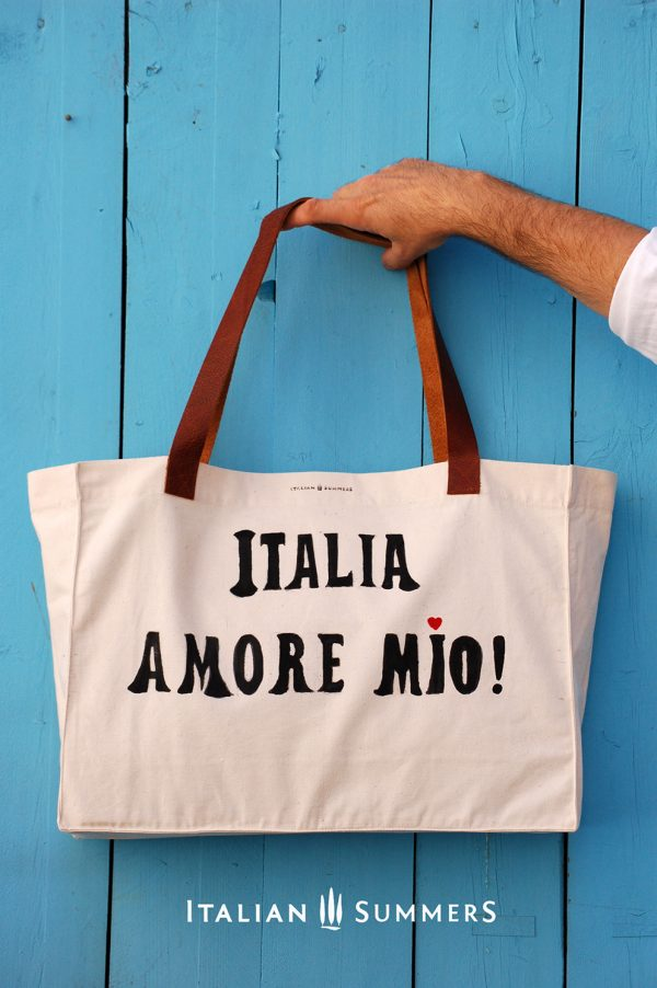Shopper tote bag ITALIA AMORE MIO by Italian Summers. Organic cotton handpainted print.. leather handles. 100% Made in Italy, Rome by Italian Summers, Lisa van de Pol and Claudio Assandri