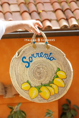 STRAW MARKET BAG SORRENTO LEMON DESIGN BY ITALIAN SUMMERS
