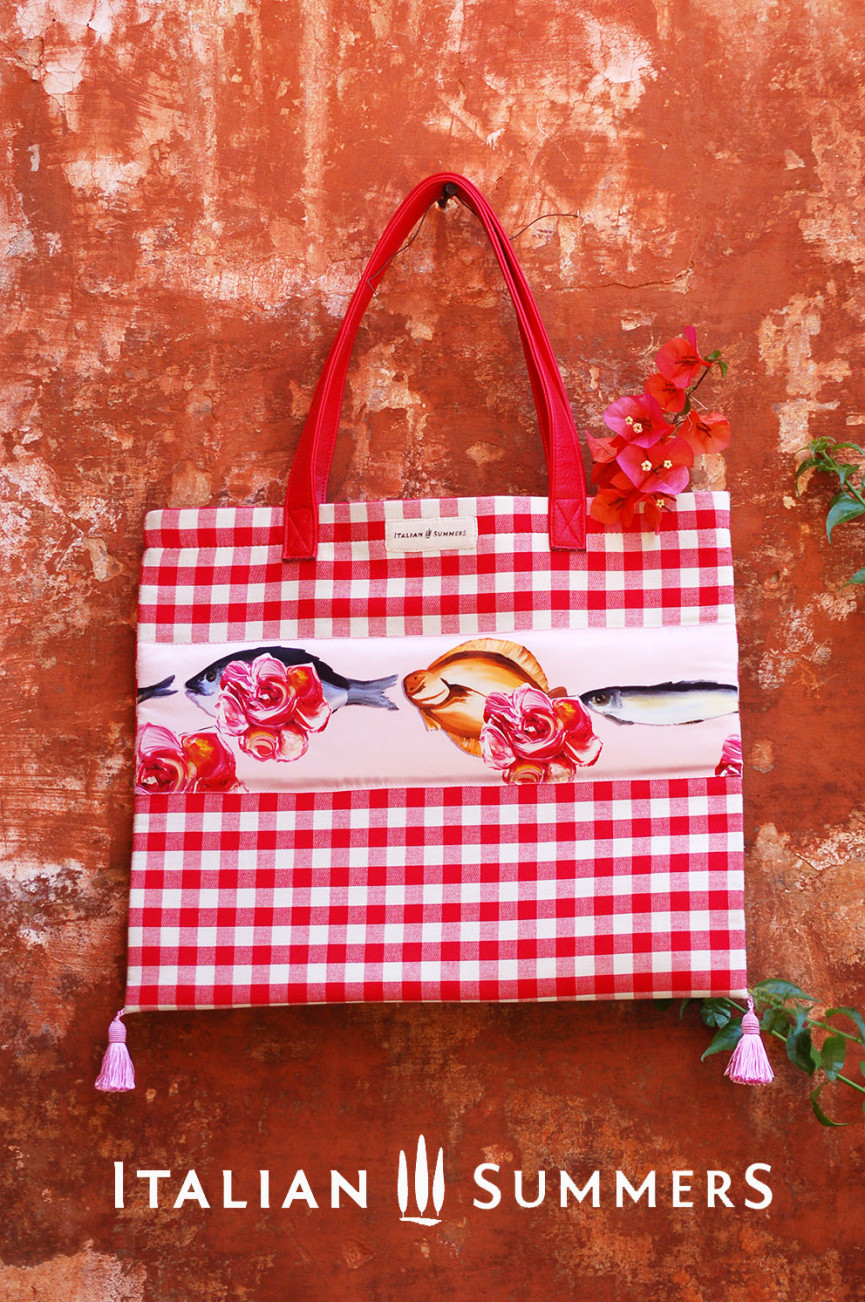 Shopper ROSE FISHES RED gingham canvas by Italian Summers