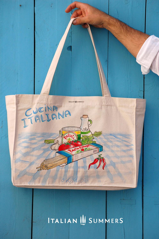 Shopper tote bag cucina italiana handpainted canvas bag for Cucina italiana