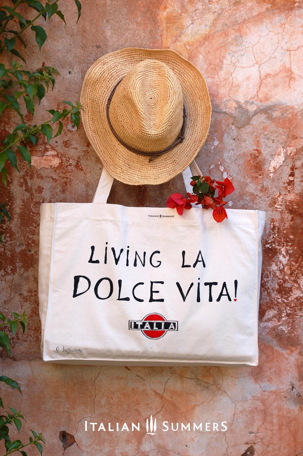 Shopper tote bag living la dolce vita handpainted on canvas for La dolce vita