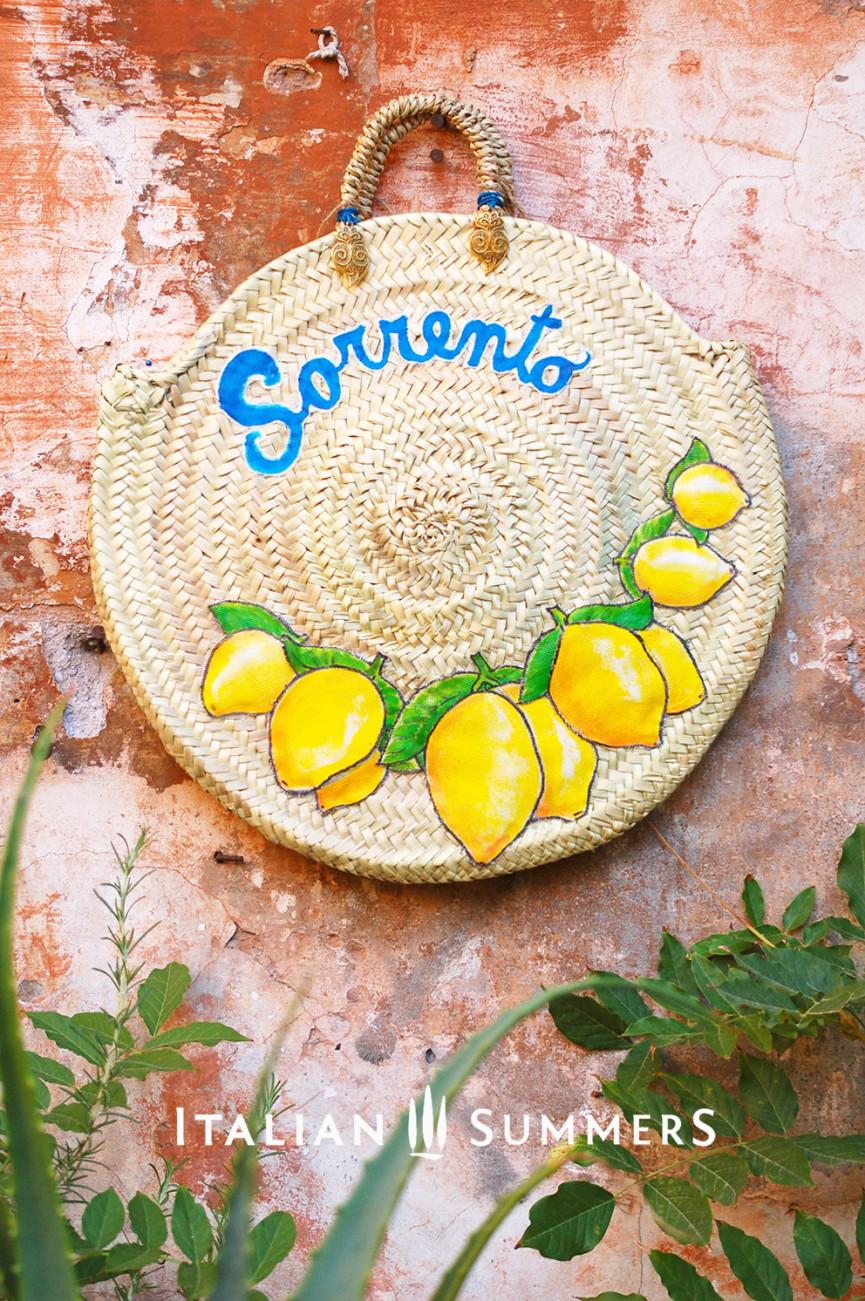 Straw bag round SORRENTO LEMONS by Italian Summers.