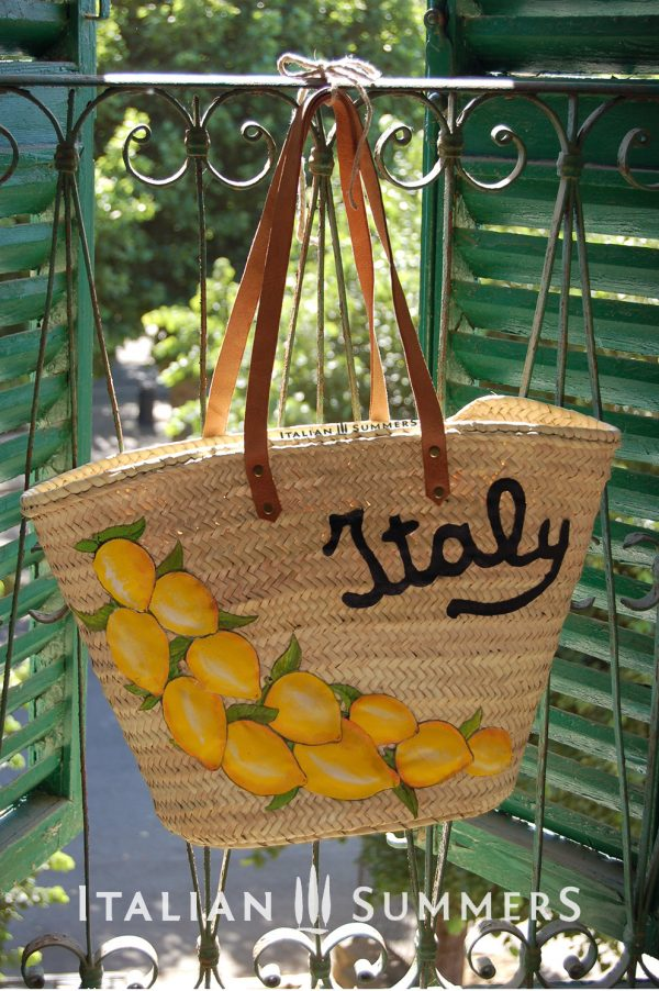 Straw Market Bag ITALY LEMONS by Italian Summers