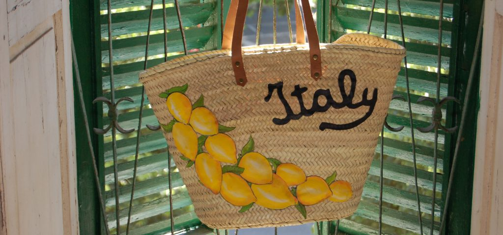 Straw bag Italy lemons by Italian Summers