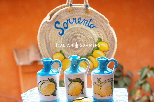 Straw bag Sorrento lemons plus limoncello bottes by Italian Summers Horizontal