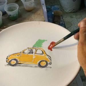 The making of Italian Summers plate Cinquecento with Italian flag. Exclusive ceramic plate by Italian Summers