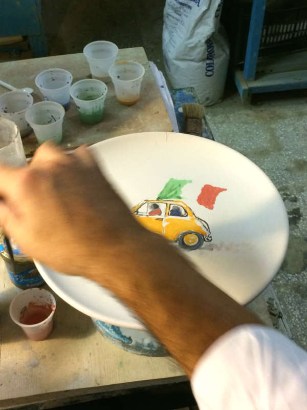 Have a look how we make the plates! There is only ONE! Shop this happy Cinquecento plate here! & Italian Summers Cinquecento ceramic plate handmade