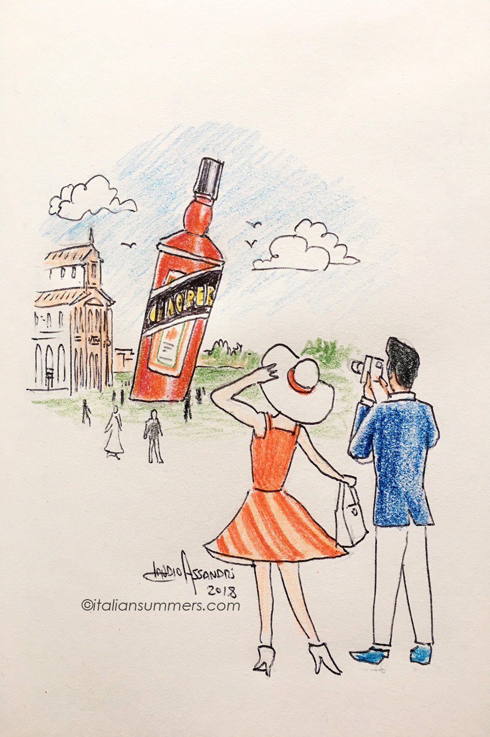The tower of Pisa through the eyes of an Aperol Spritz lover. Illustration by Claudio Assandri at Italian Summers. Have a look at our Aperitivo tote!