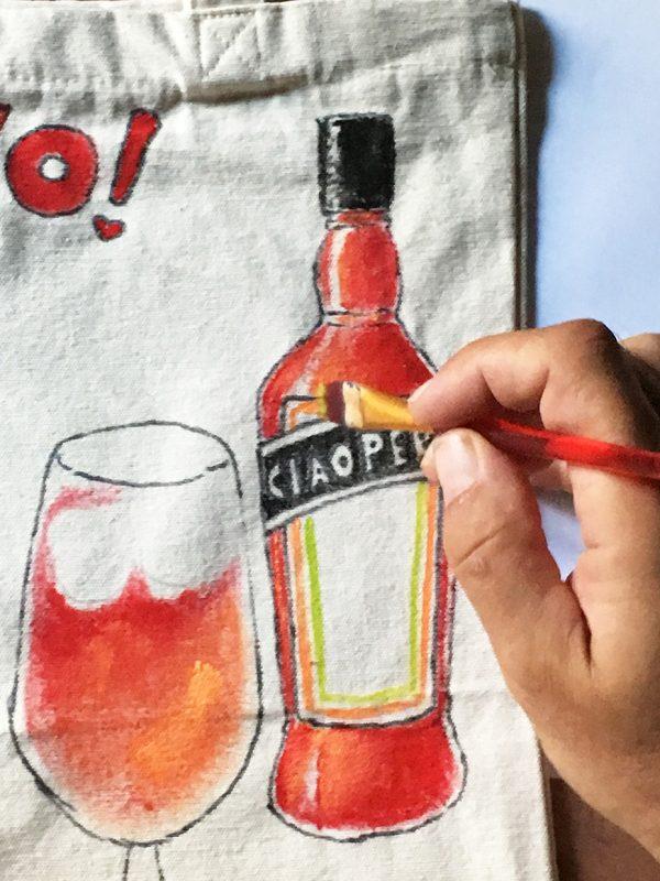 Aperitivo bag Ciaoperol Aperol by Italian Summers handpainted
