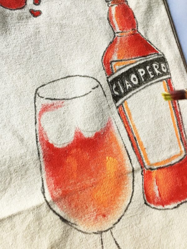 Aperitivo bag Ciaoperol Aperol by Italian Summers handpainted