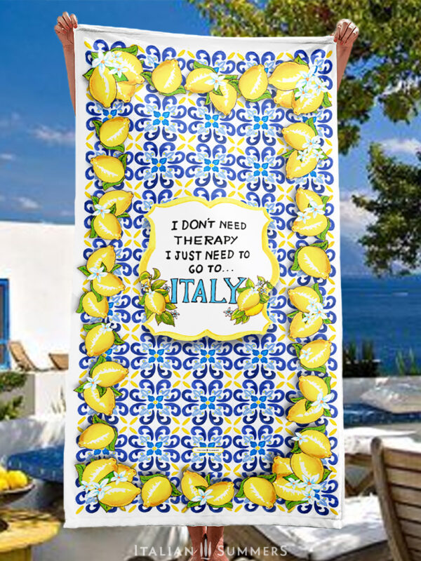 Beach Towel I Don't need Therapy, Italy tiles by Italian Summers