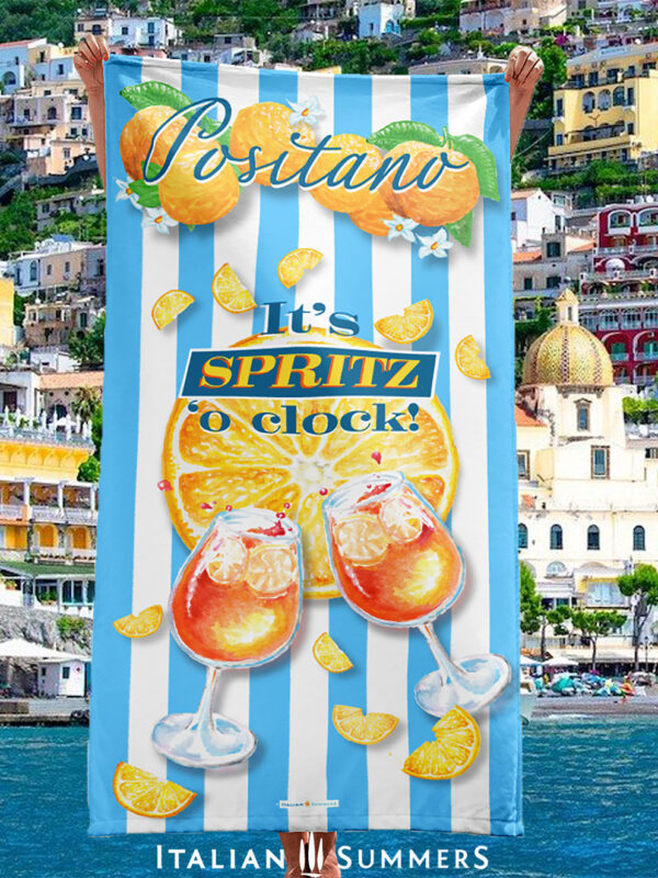 Beach Towel IT'S SPRITZ 'O CLOCK! by Italian Summers - Positano