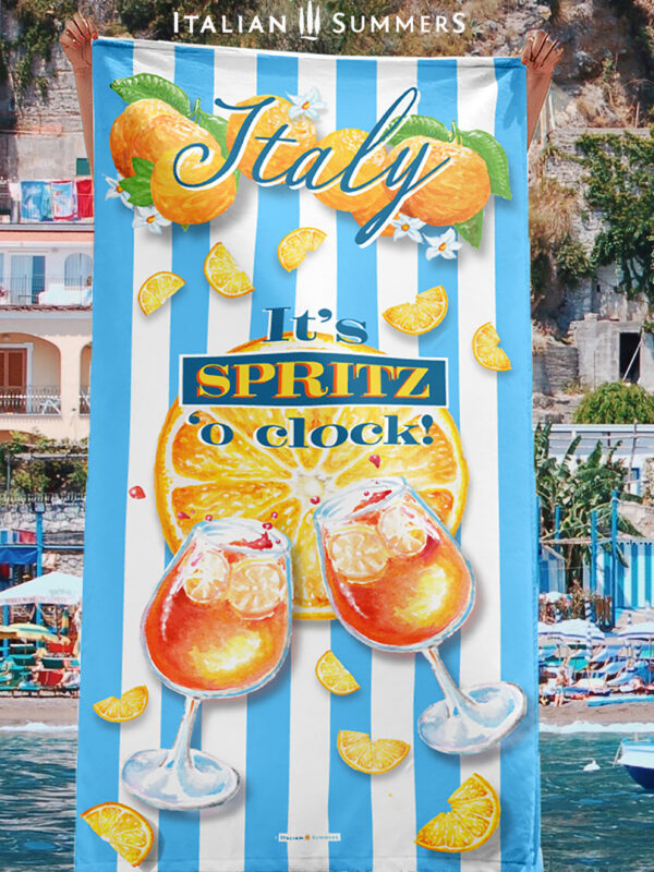 Beach Towel It's SPRITZ 'o CLOCK! by Italian SUmmers