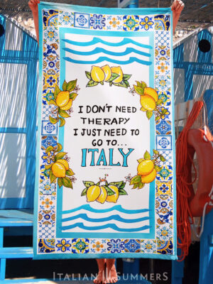 Beachtowel I DONT NEED TEHRAPY JUST ITALY by Italian Summers