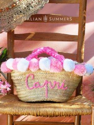 CAPRI ROSA Straw bag by Italian Summers