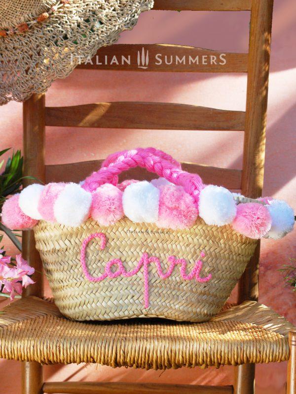 CAPRI ROSA Straw bag by Italian Summers