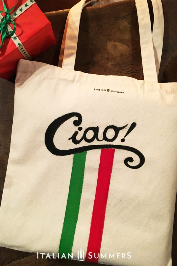 CIAO tote bag. Ciao writing on handpainted tote bag with Italian colored stripes by Italian Summers