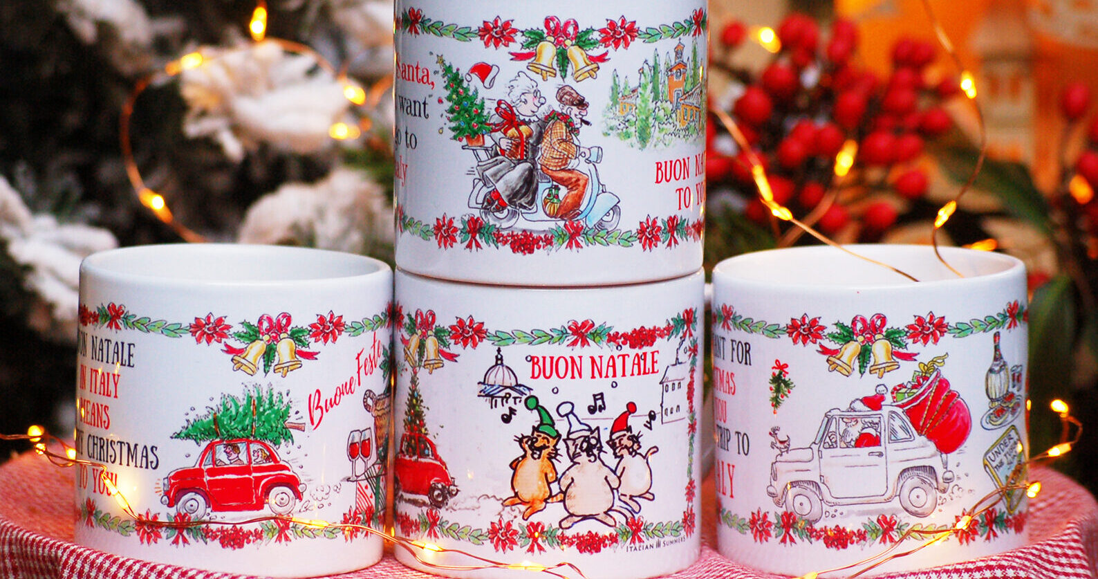 Italian christmas cups set of 4 by Italian Summers