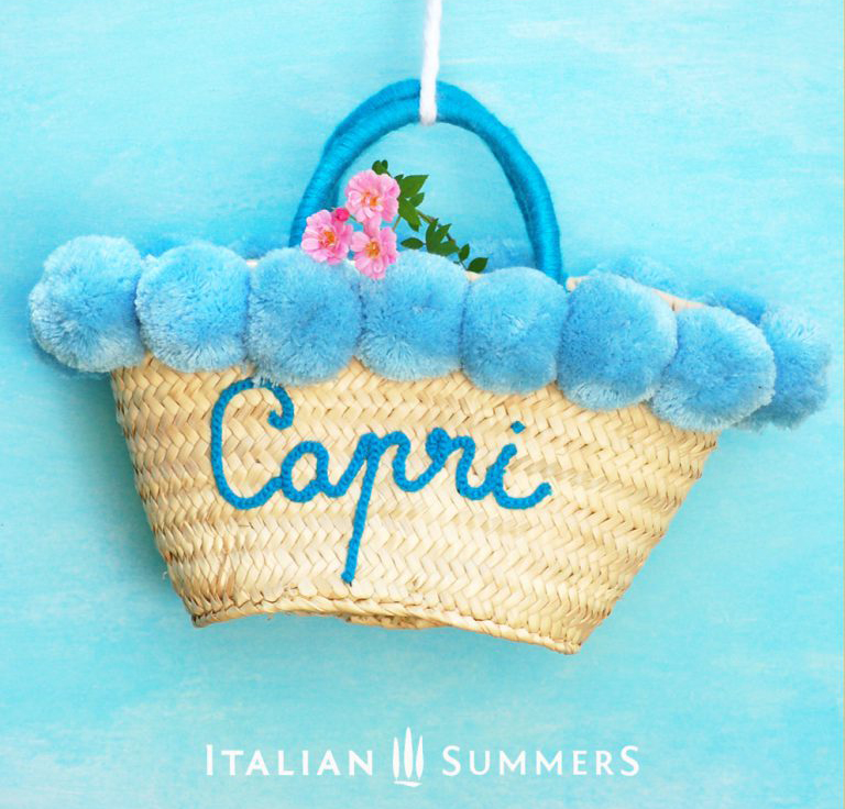 Capri Blue straw basket by Italian Summers 2020.