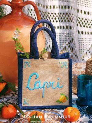 CAPRI Mini Jute Bag by Italian Summers Handpainted canvas by Italian Summers.
