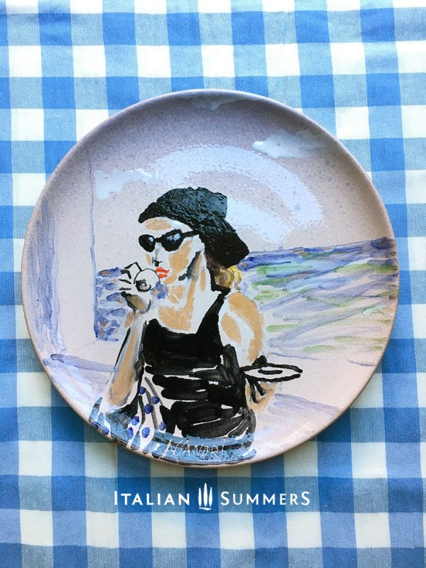 Ceramic handpainted plate CIAO BELLA by Italian Summers