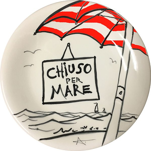 Chiuso per mare, exclusive cermaic plate by Italian Summers
