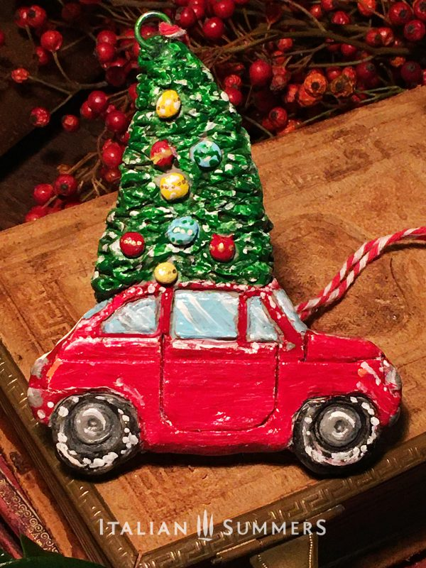 Christmas Ornament; RED FIAT 500 by Italian Summers