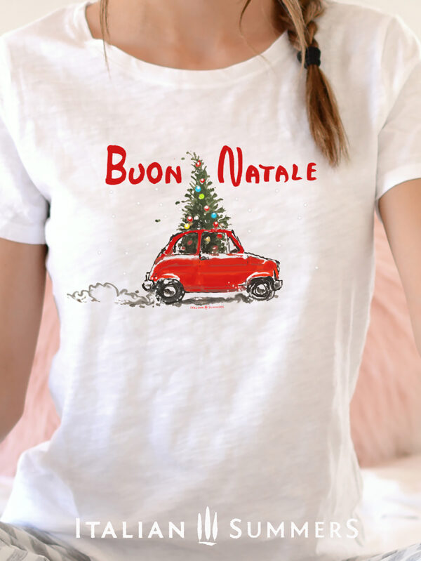 Christmas T Shirt FIAT 500 with Chrisrmas tree by Italian Summers