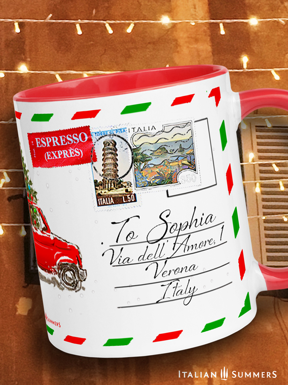 Christmas mug singing cats by Italian Summers