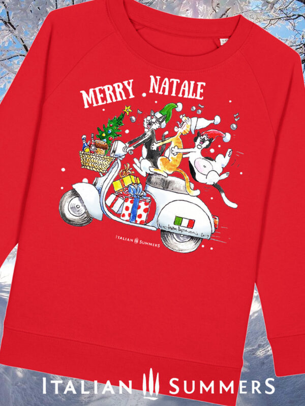 Italian Christmas kids sweatshirt VESPA CATS by Italian Summers. Just a fun-loving bunch of italian cats caroling along on a Vespa. Guaranteed to bring a smile to any cat or Italy lover (and your kids too)!