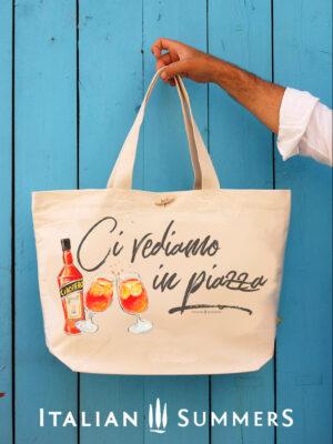 Ci vediamo in the piazza shopper beachbag by Italian Summers black