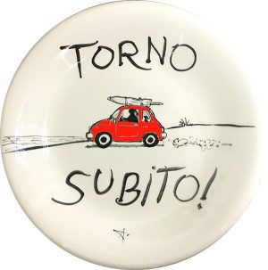 Cinquecento Torno Subito Spiaggia, exclusive ceramic plate by Italian Summers