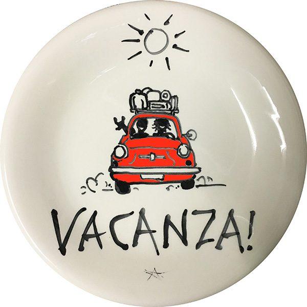 Cinquecento Vacanza, exclusive ceramic plate by Italian Summers