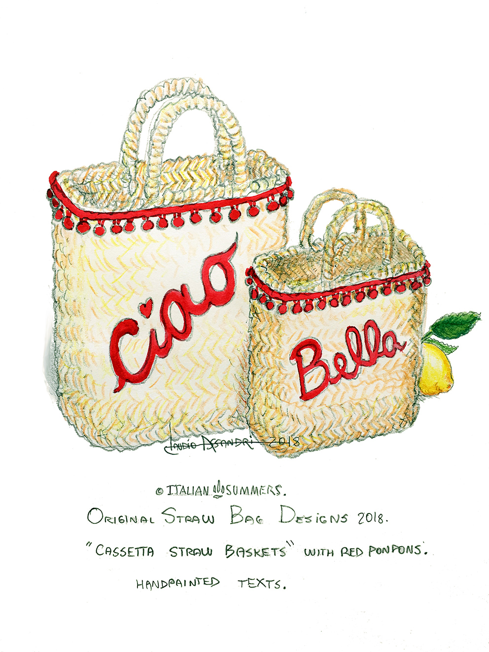 Customized bridal straw bags for Italian weddings by Italian Summers