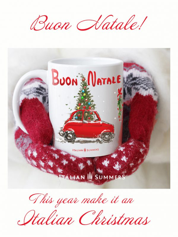FIAT 500 CHRISTMAS TREE Italian Christmas coffee mug by Italian Summers