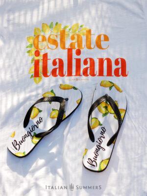 Flip-flops BUONGIORNO LIMONI by Italian Summers, original Italian Summers design for happy summer feet. Tutti al Mare!