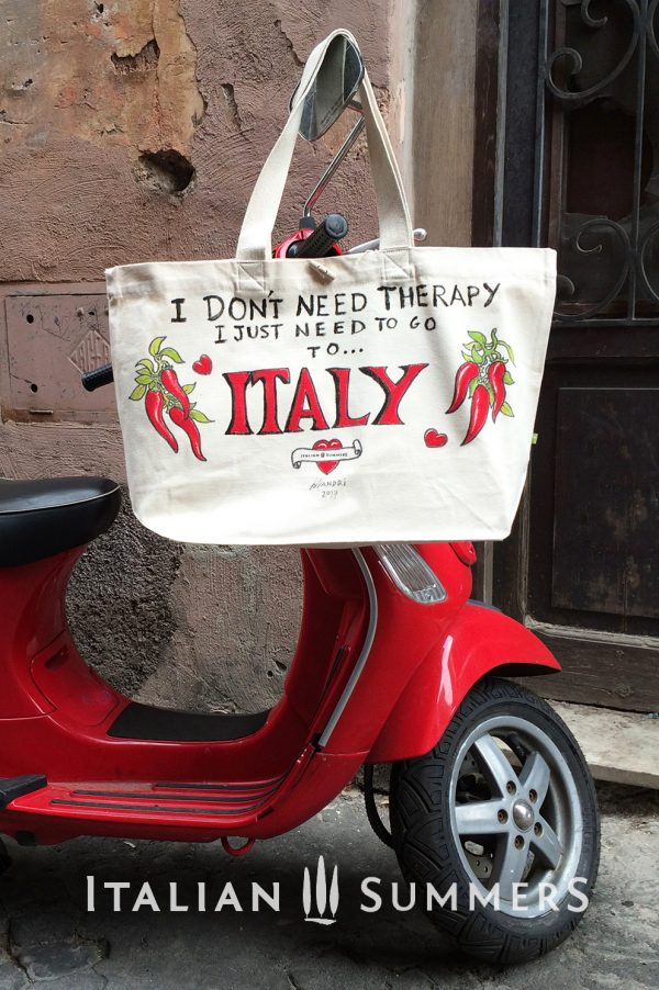 I DON'T NEED THERAPY, I JUST NEED TO GO TO ITALY shopper/beach bag by Italian Summers