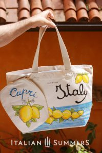 ITALIAN LEMONS shopper/beach bag AND CLUTCH by Italian Summersshopper tote bag by Italian Summers. Handpainted canvas.